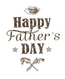 Happy father`s day greeting card. Holiday card with isolated graphic elements and text on white background. Royalty Free Stock Photos