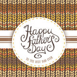 Happy Father's Day greeting Card. Happy Father's Day with knited Background Royalty Free Stock Photo