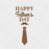 Happy Father`s Day. Greeting card with lettering, mustache and necktie Royalty Free Stock Photography