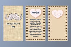 Happy Father`s Day greeting card. Postcard in beige and brown colors with a retro mustache. Gift for a dear Dad. Stock Image