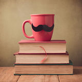 Happy Father's day greeting design with cup and mustache Stock Photography