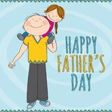 Happy father`s day - happily smiling father carrying little child, his daughter, on his shoulders. Cute girl is smiling. Original hand drawn illustration vector illustration