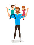 Happy Father`s Day. Happy family concept. Dad carrying little so Royalty Free Stock Photo