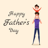Happy Father`s Day. Happy family concept. Dad carrying little son on his shoulders. Cartoon Vector Illustration Royalty Free Stock Images