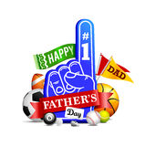 Happy Father's Day. An illustration celebrating Father's Day with a sporty theme Stock Image