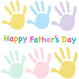Happy Father's day kids colorful handprint greeting card Royalty Free Stock Photo