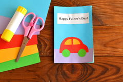 Happy father's day. Kids crafts. Greeting card father's day. Happy father's day. Kids crafts. Paper sheets, scissors, glue. How to make a greeting card father's royalty free stock images
