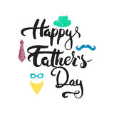 Happy Father's day lettering calligraphy greeting card with beard, hat, glasses, mustache, tie  on the white Royalty Free Stock Photos