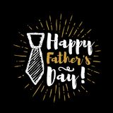 Happy father`s day lettering with sunbursts background. Vector illustration Royalty Free Stock Photography