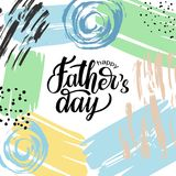 Happy Father`s Day on hand drawn background in memphis style. Happy Father`s Day lettering typography composition for postcard, card, invitation on abstract Vector Illustration