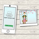 Happy father's day  with linear style symbol Royalty Free Stock Images