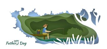 Free Happy Father`s Day. Man Fishing. Happy Father S Day Card. Paper Cut Style. Vector Illustration Stock Photos - 188870953