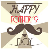 Happy Father's day. Mustache and text on a colored background for father's day celebrations Stock Images