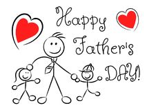 Happy father`s day naive stylized isolated. On white Royalty Free Stock Image