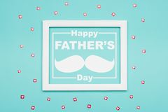 Happy Father`s day Pastel Candy Colours Background. Flat lay minimalism Father day greeting card. Happy Father`s day Pastel Candy Colours Background. Flat lay stock illustration