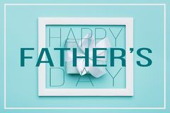 Happy Father`s day Pastel Candy Colours Background. Flat lay minimalism greeting card with picture frame. Happy Father`s day Pastel Candy Colours Background stock illustration