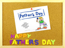 Happy Father´s Day phrase on a corkboard Royalty Free Stock Image