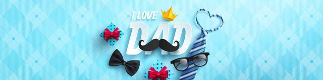 Free Happy Father`s Day Poster Or Banner Template With Necktie,glasses And Gift Box On Blue.Greetings And Presents For Father`s Day I Royalty Free Stock Photos - 184492478