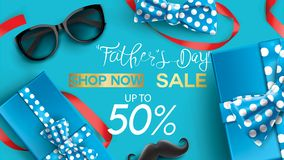 Happy Father`s Day, Sale Creative promotion Poster or banner shopping template Design with 50% Off Offers. three dimensional conc. Ept vector illustration with vector illustration