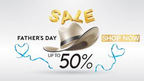 Happy Father`s Day, Sale Creative promotion Poster or banner shopping template Design with 50% Off Offers. three dimensional conc. Ept vector illustration with stock illustration