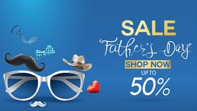 Happy Father`s Day, Sale Creative promotion Poster or banner shopping template Design with 50% Off Offers. three dimensional conc. Ept vector illustration with royalty free illustration