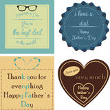 Happy father's day. Set of backgrounds and labels with text and elements for father's day. Vector illustration Royalty Free Stock Images