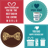 Happy father's day. Set of backgrounds and labels with text and elements for father's day. Vector illustration Stock Image