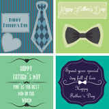 Happy father's day. Set of backgrounds with text and elements for father's day. Vector illustration Stock Images