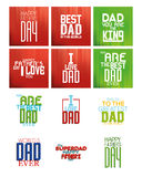 Happy father's day. Set of backgrounds for father's day. Vector illustration Stock Photo