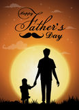 Happy Father`s Day, silhouette of a father holding Daughter.full moon background. Vector illustration Royalty Free Stock Photo