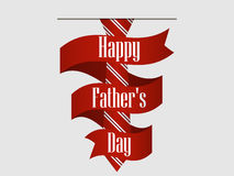 Happy Father`s Day. Striped red tie with ribbon and shadow. Vector Royalty Free Stock Photography