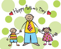 Happy Father's Day - tan. 2D cartoon illustration of a tan skin tone family Royalty Free Stock Images