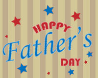 Happy Father's day text background - vector. Illustration of a striped background with happy father's day text and some stars. Useful as greeting card. EPS file Stock Images