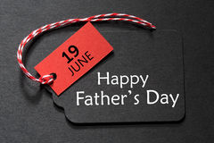 Happy Father`s Day text on a black tag stock photo