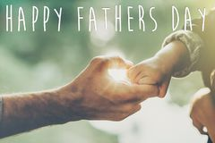 Free Happy Father`s Day Text, Greeting Card Concept. Father And Littl Stock Photo - 115398100