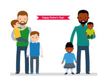 Happy Father`s Day. Two happy father with children, single dad European, the other dad is African American. Happy cute family. Vector illustration in cartoon vector illustration