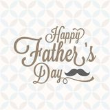 Happy father`s day typographic with vintage background and mustache. Calligraphic font, flat design Royalty Free Stock Images