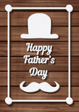 Happy Father's Day Typographical Background with moustache and h Royalty Free Stock Photo