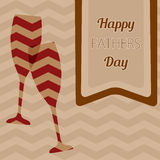 Happy Father's Day. Vector card with wine glasses on seamless chevron pattern. Royalty Free Stock Images
