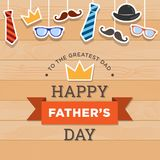 Happy Father`s Day Vector Design, with design elements cartoon style with wooden background stock image