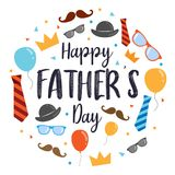 Happy Father`s Day Vector Design, with design elements cartoon style with wooden background. In vector format vector illustration