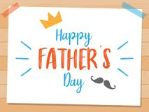 Happy Father`s Day Vector Design, with design elements cartoon style with wooden background vector illustration