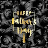 Happy Father`s Day vector greeting card. Gold message on black abstract backdrop. Vinil or oil waves, Striped background. Happy Father`s Day vector greeting card Royalty Free Illustration