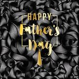 Happy Father`s Day vector greeting card. Gold message on black abstract backdrop. Vinil or oil waves, Striped background. Happy Father`s Day vector greeting card Stock Illustration