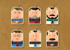 Happy father`s day vector tag simple character collection Stock Photos