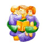 Happy father`s day. Watercolor illustration of dad with glasses hugging his daughter and son and reading them a book.  Template stock illustration