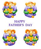 Happy father`s day. Watercolor set collection of dad hugging his children and reading them a book. Children are twins. Children o royalty free illustration