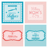 Happy Father's And Mother's Day Template Cards Royalty Free Stock Photo