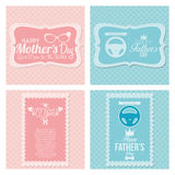 Happy Father's And Mother's Day Template Cards Stock Images