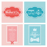 Happy Father's And Mother's Day Template Cards Royalty Free Stock Photography